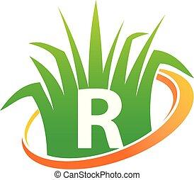 pelouse, initiale, r, centre, soin