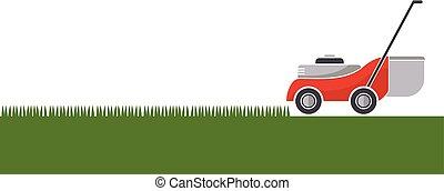 pelouse, isolé, faucheur, découpage, fond, herbe