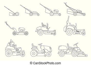 pelouse, jardinage, faucheurs, isolé, illustration, arrière-plan., grass., vecteur, divers, grass-cutter., fauché, blanc, types