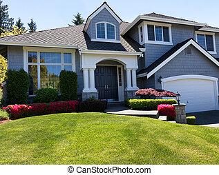 pelouse, maison, printemps, puits, maintenir, propre, saison, devant, pendant