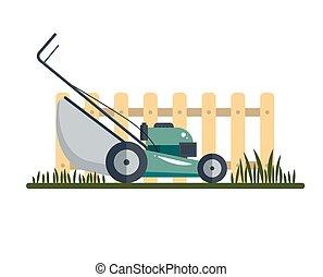 pelouse, outillage, jardinage, barrière, ilustration, -, isolé, faucheur, machine, équipement, vecteur, fond, icône, blanc, herbe, technologie, grass-cutter, stockage
