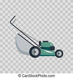 pelouse, outillage, jardinage, illustration., -, faucheur, machine, équipement, vecteur, fond, technologie, transparent, grass-cutter, icône