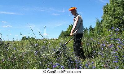 pelouse, ouvrier, faucheur, herbe coupante, homme