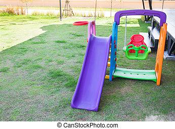 pelouse, parc, enfants, cour de récréation