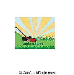 pelouse, résumé, -, faucheur, herbe, carte