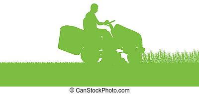 pelouse, résumé, illustration, faucheur, champ, découpage, tracteur, fond, herbe, paysage, homme
