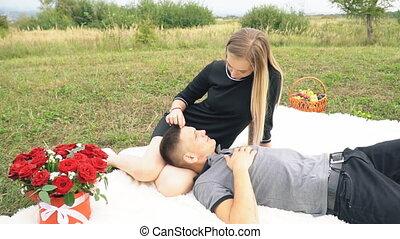 pelouse, séance, couple, jeune