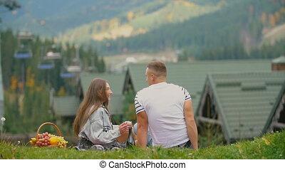 pelouse, séance, couple