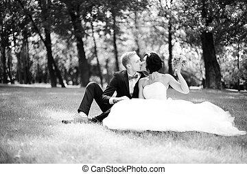 pelouse, séance, palefrenier, mariée, portrait, heureux
