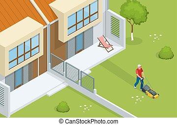 pelouse, service, fauchage, concept., isométrique, jaune, faucheur, summertime., vecteur, illustration, herbe, homme
