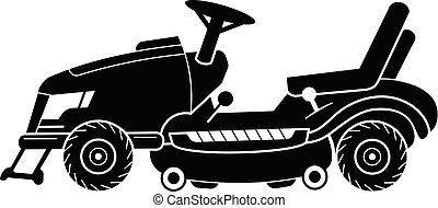 pelouse, simple, style, faucheur, icône, tracteur