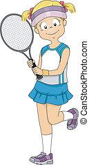 pelouse, tennis, girl