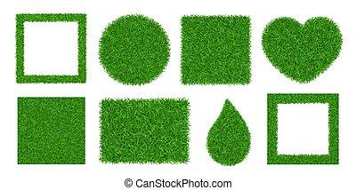 pelouse, terrestre, prairie, résumé, heart., cercle, 3d, carrée, paysage, vecteur, isolated., texture, fond, champ, verdure, illustration, vert, herbeux, rectangle., meadow., balle, herbe, nature, ensemble, cadre, pattern.