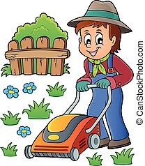 pelouse, thème, jardinier, faucheur