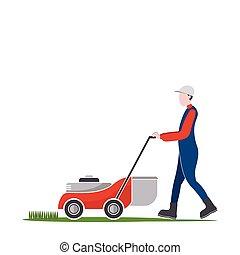 pelouse, travaux, faucheur, herbe, découpage, arrière-cour, homme