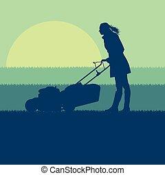 pelouse, vecteur, femme, découpage, déménageur, herbe