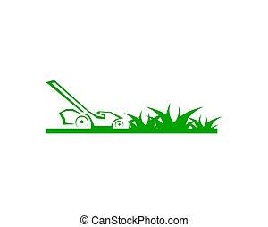pelouse, vecteur, gabarit, soin, logo, conception