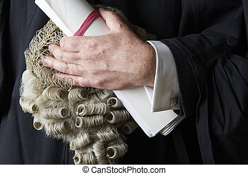 peluca, abogado, arriba, breve, teniendo cerca
