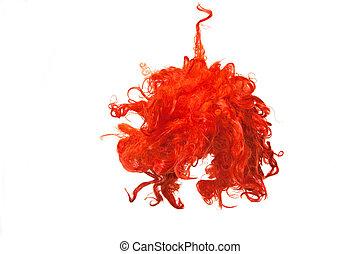 peluca, aislado, rojo