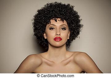 peluca, mujer, negro, joven, rizado