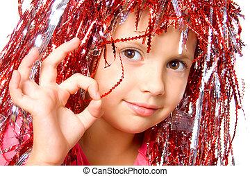 peluca, niña, joven, carnaval