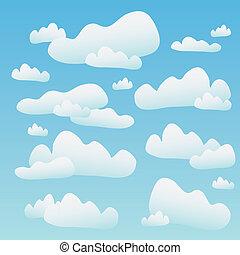 pelucheux, bleu, nuages