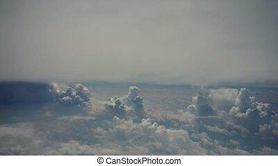 pelucheux, nuages, blanc, bleu, rouler, ciel