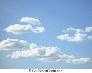 pelucheux, nuages, blanc
