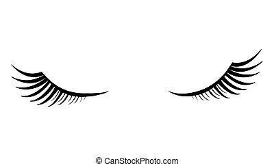 pelucheux, yeux, cils, noir, fond blanc, fermé
