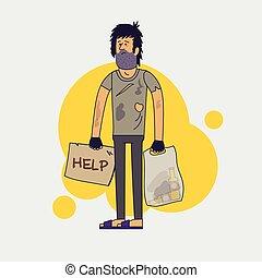 peludo, ayuda, work., desempleado, sucio, sin hogar,...