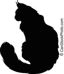 peludo, gatos, silueta