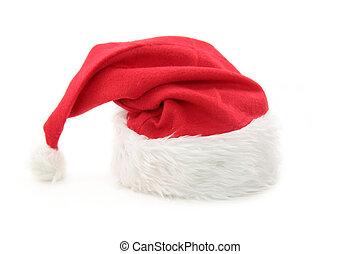 peludo, santa sombrero, rojo