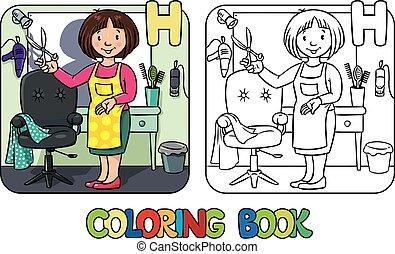peluquero, book., alfabeto, colorido, h., profesión