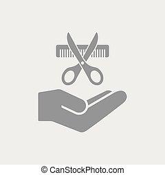 peluquero, concepto, servicio, icono