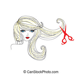 peluquero, elaboración, corte de pelo, en, salón de belleza