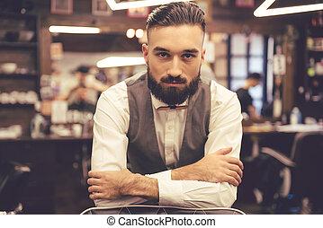 peluquero, elegante, guapo