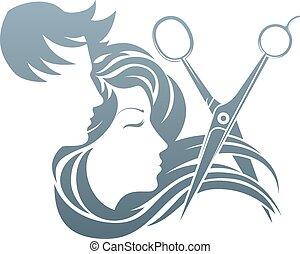 peluquero, hombre y mujer, tijeras, concepto