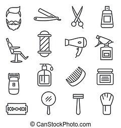 peluquero, línea, plano de fondo, blanco, tienda, iconos
