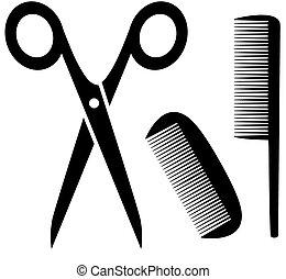 peluquero, peine, herramientas, icono, tijeras