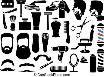 peluquero, salón, o, tienda, vector, iconos