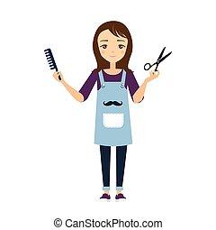 peluquero, vector, illustration.