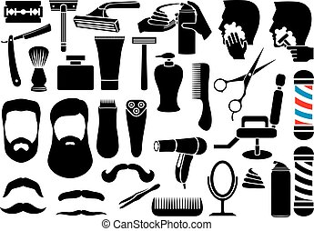 peluquero, vector, o, salón, tienda, iconos