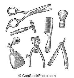 peluquero, vector, shop., vendimia, negro, grabado, conjunto, herramienta