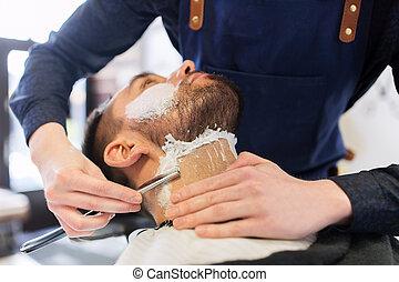 peluquero, viruta, maquinilla de afeitar, barba, derecho, hombre