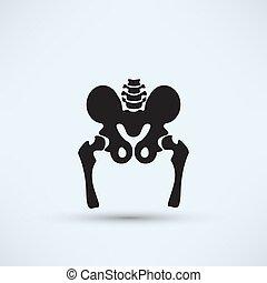 pelve, silueta, esqueleto, ícone