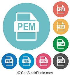 PEM file format flat round icons