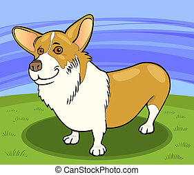 pembroke welsh corgi dog cartoon illustration