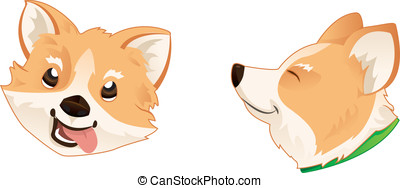 Pembroke Welsh Corgi Dog Head