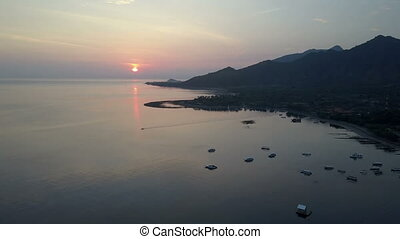 Pemuteran,Aerial view from drone,Stony seacoast and...