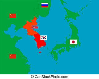península, coreano, vizinhos